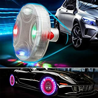 Bentrance Car Tire Wheel Lights - 2pcs Colorful LED Solar Car Wheel Hub Tire Lights Air Valve Cap Light with Motion Sensor...