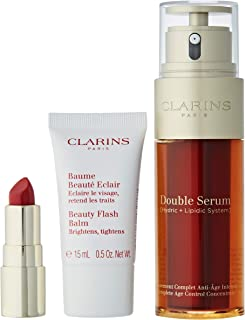 Clarins Pack Double SERUM 50ML + Flash Balm 15ML + Mini Barra DE Labios 742 Unisex Adulto, Negro, Estándar