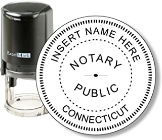Round Notary Stamp for State of Connecticut - Self Inking Stamp - Features The ExcelMark Double Sided Ink Pad for Longer Product Life