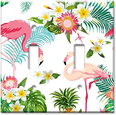 Art Plates Brand Double Toggle Switch / Wall Plate - Flamingos
