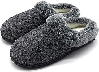 Womens Memory Foam Fur House Slippers Indoor Outdoor