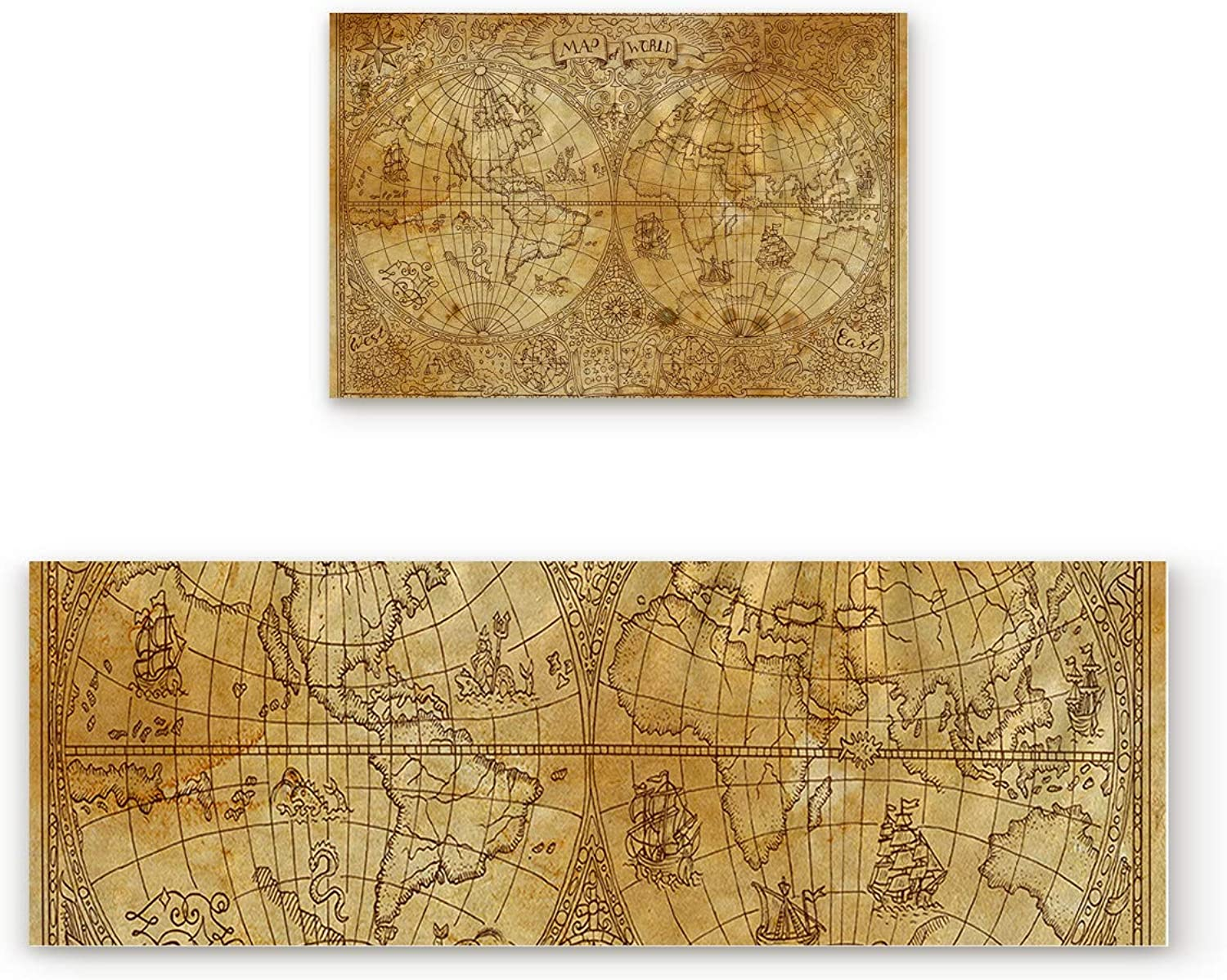 Aomike 2 Piece Non-Slip Kitchen Mat Rubber Backing Doormat Medieval World Map Runner Rug Set, Hallway Living Room Balcony Bathroom Carpet Sets (19.7  x 31.5 +19.7  x 47.2 )