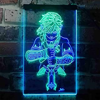 zusme Legend of Zelda Novelty LED Neon Sign Green + Blue W8 x H12