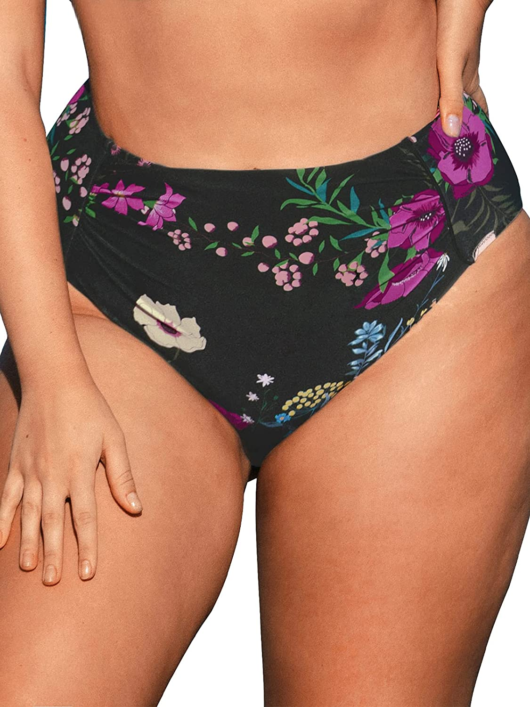 CUPSHE Women's High Waisted Plus Size Bikini Bottom Floral Tummy Control Bathing Suit