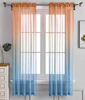 Orang Teal Ombre Sheer Curtains for Kids playroom 2 Panels Rod Pocket Bedroom Window Semi Voile Drapes Faux Linen Décor Gi...
