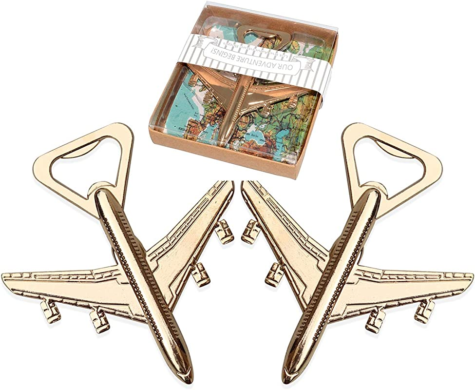 WeddPtyFr 48Pcs Party Favor For Guests Let The Adventure Begin Antique Airplane Beer Bottle Opener For Wedding Souvenirs Birthday Bridal Shower Anniversary Decoration Gift Airplane 48pcs