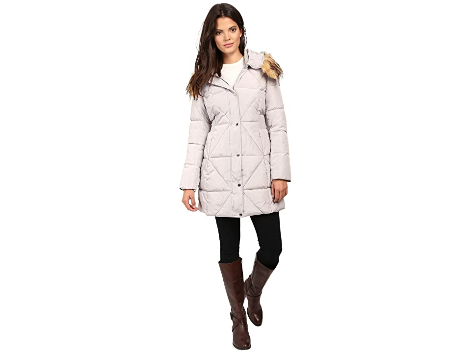 Jessica Simpson Cinched Waist Puffer w/ Hood and Removable Faux Fur (Pearl) Women
