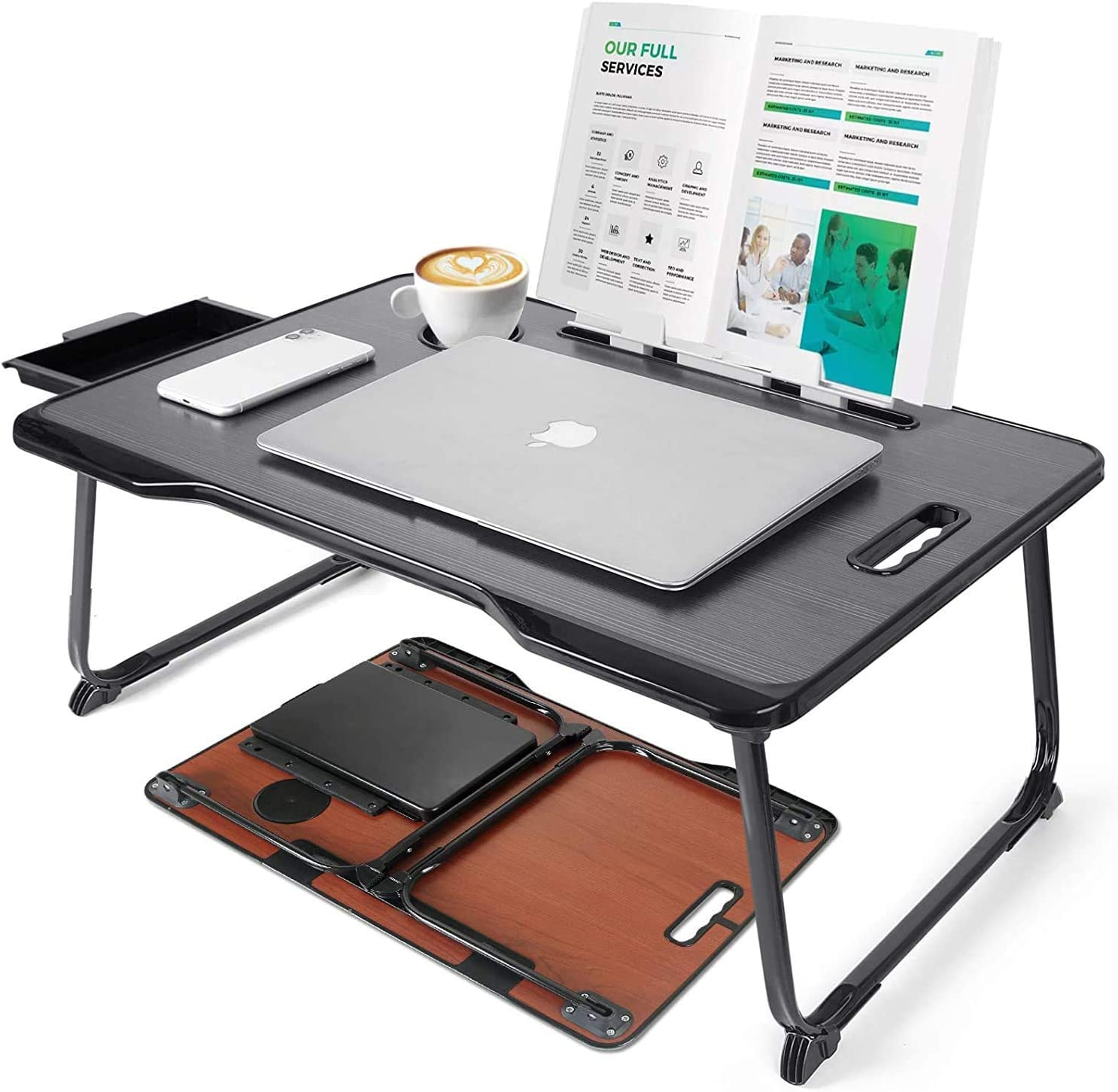 SANNOBEL Big Laptop Desk for Bed with Same day shipping New sales Hol Storage Drawer and Cup