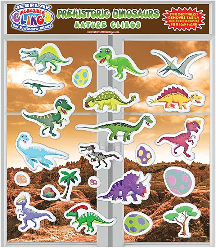 JesPlay Dinosaur Glass Window And Wall Puffy Stickers For Kids By Incredible Gel And Window Clings Large And Small Reusable Dino Jurassic World Puffy Clings For Home Airplane Classroom Nursery