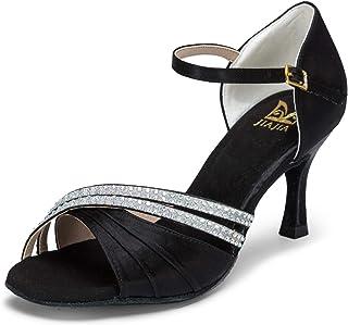 4ffbd415f JIA JIA 20524 Latin Women's Sandals 2.7'' Flared Heel Super Satin Rhinestone  Dance Shoes