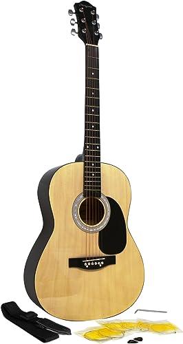 Martin Smith Kit de Guitare Acoustique avec Médiators de Guitare de Guitare Sangle de Guitare Naturel