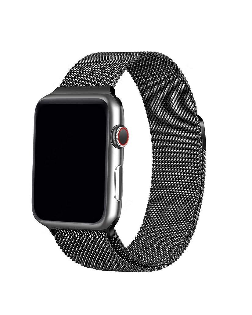 分類するドアミラー毎年Apple Watch バンド 最新の製造プロセス New Apple Watch Band Black iWatch ベルト apple バンド ミラネーゼループ アップルウォッチバンド アップルウォッチ5 apple watch series 5 apple watch series4 3 2 1 に対応 留め金製 新しいApple Watchバンドに適応する ( 42mm 44mm ブラック)