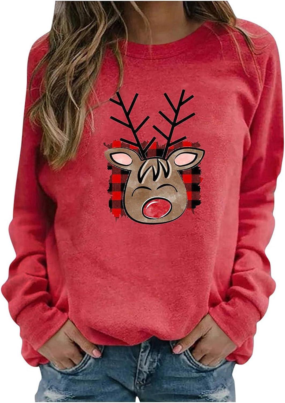 POLLYANNA KEONG Funny Christmas Shirts,Womens Casual Christmas Printed Tops Lovely Graphic Shirts Crewneck Pullover