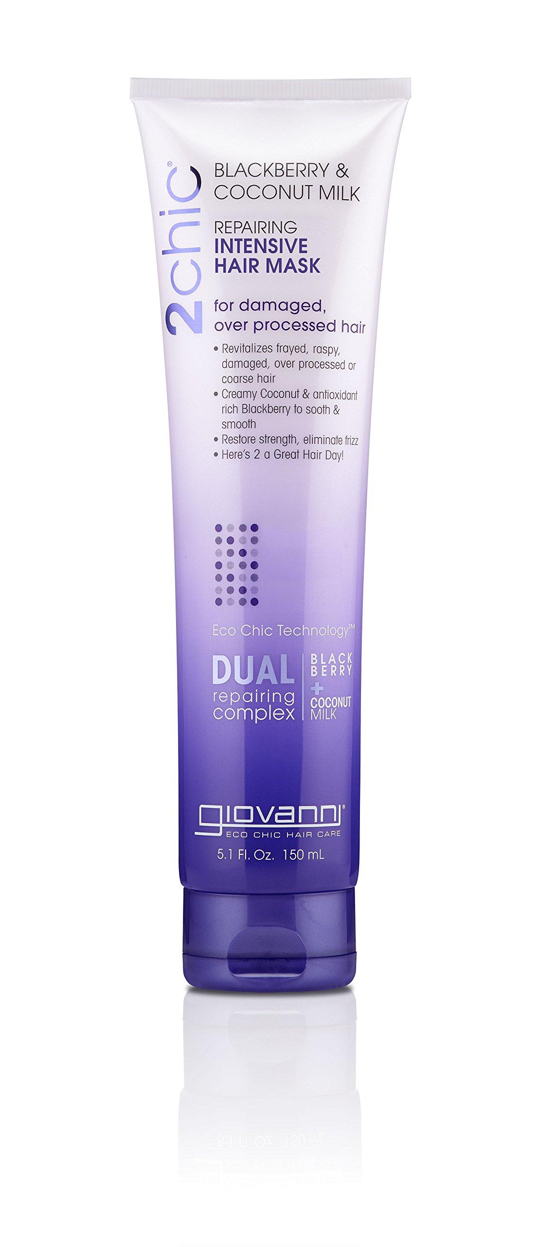 Giovanni Repairing Hair Mask Blackberry & Coconut for Dry, Damaged & Processed Hair, Argan, Jojoba, Shea Butter & Keratin, Color Safe, 5 fl oz. (Pack of 1)