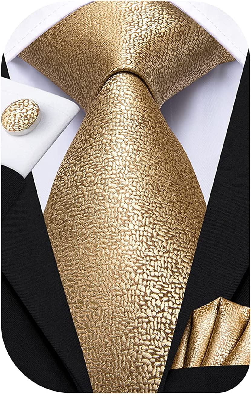 Dubulle Mens Tie Set Solid Paisley Novelty Silk Necktie for Men with Cufflinks Tie and Pocket Square
