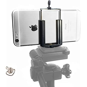 DaVoice Cell Phone Tripod Mount Adapter, Compatible with iPhone Holder, Smartphone Camera Stand Universal Clamp Attachment Clip (Black)