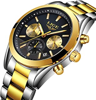 Watch for Man, LIGE Luxury Brand Men's Watches Waterproof Sports Stainless Steel Wristwatch Calendar Business Dress Analog Quartz Gold Black Clock
