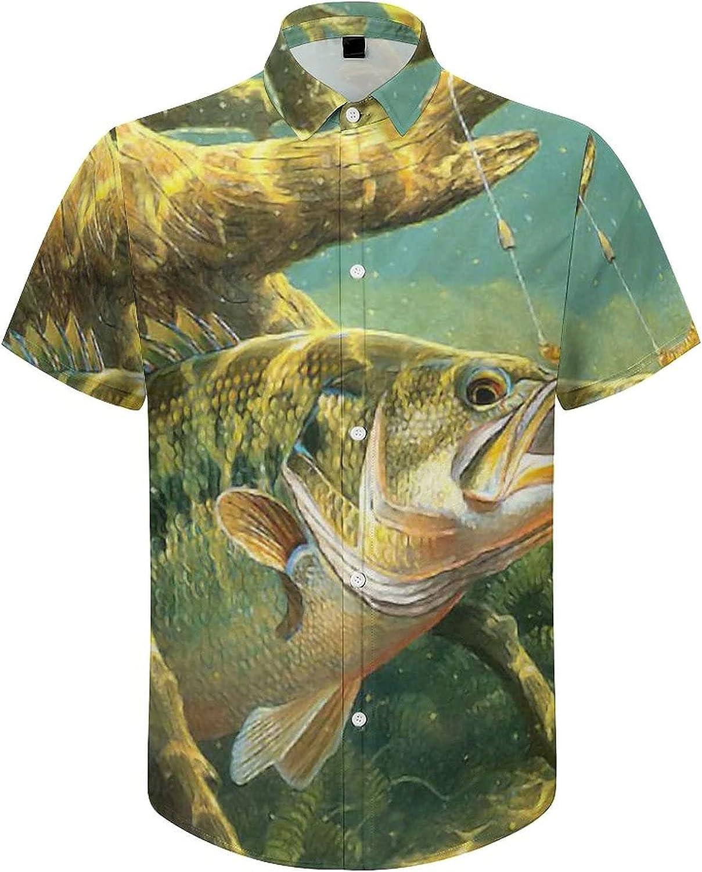 Men's Regular-Fit Short-Sleeve Printed Party Holiday Shirt Fishing Trout Fish Hunting