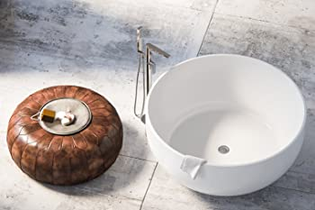 Maykke Vale Modern Round Acrylic Freestanding Bathtub