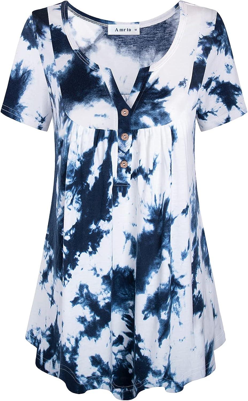 Amrto Women's Short Sleeve Henley V Neck Tunic Tops Summer Casual Pleated Flowy Blouses