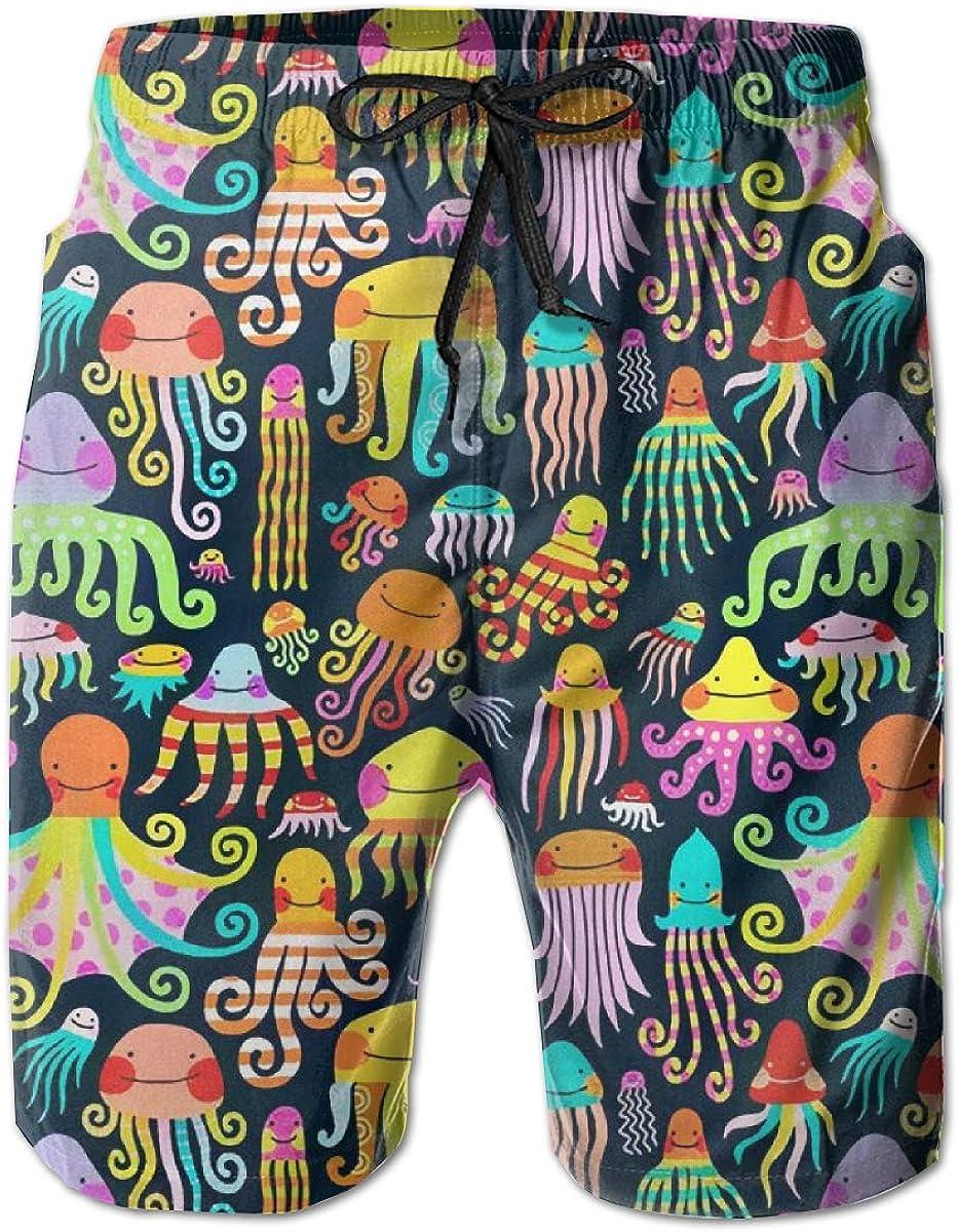 Flc16ki-A Men's 100% Max 82% OFF Polyester Sleeve-Fish Trunks Max 68% OFF Swim Comforta