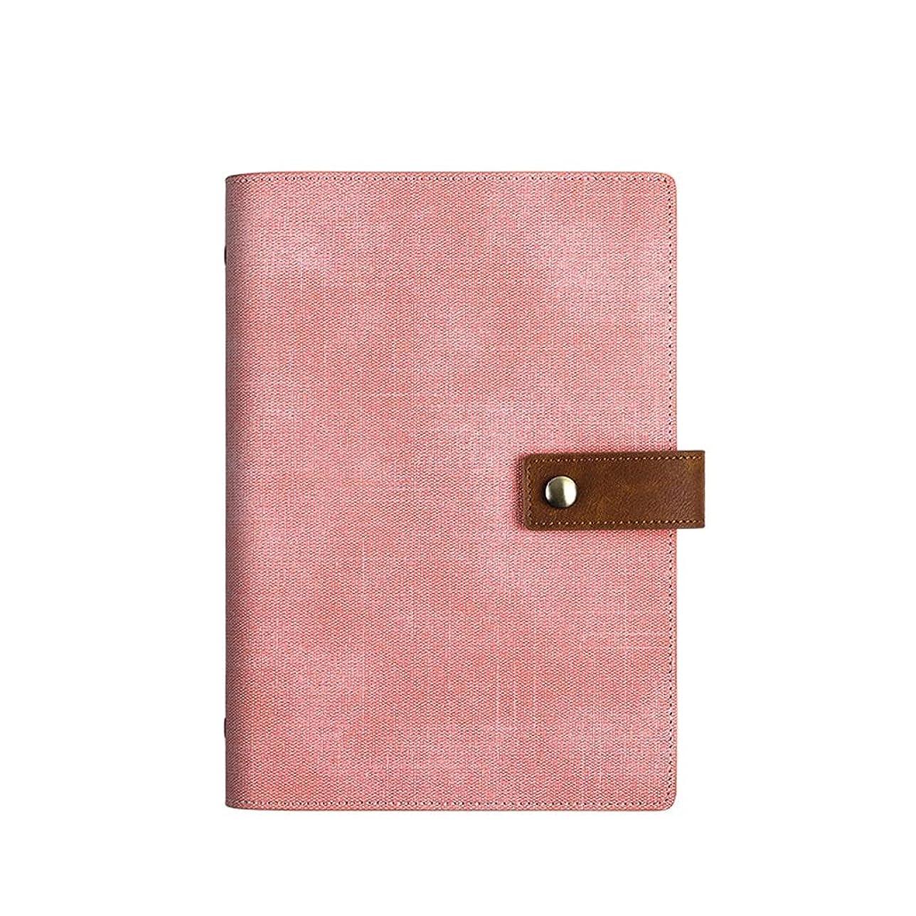 オフィスノート ルーズリーフノートA5取り外し可能なメモ帳シンプルなレザーパッド入りメモ帳付きメモ帳200ページ (Color : Pink, サイズ : 16.9*23.1cm)