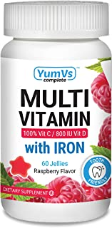 YUM-V's Complete Multivitamin and Multimineral w/ Iron Jellies (Gummies), Berry Flavor (60 Ct); Daily Dietary Supplement for Men and Women, Vegetarian, Kosher, Halal, Gluten Free
