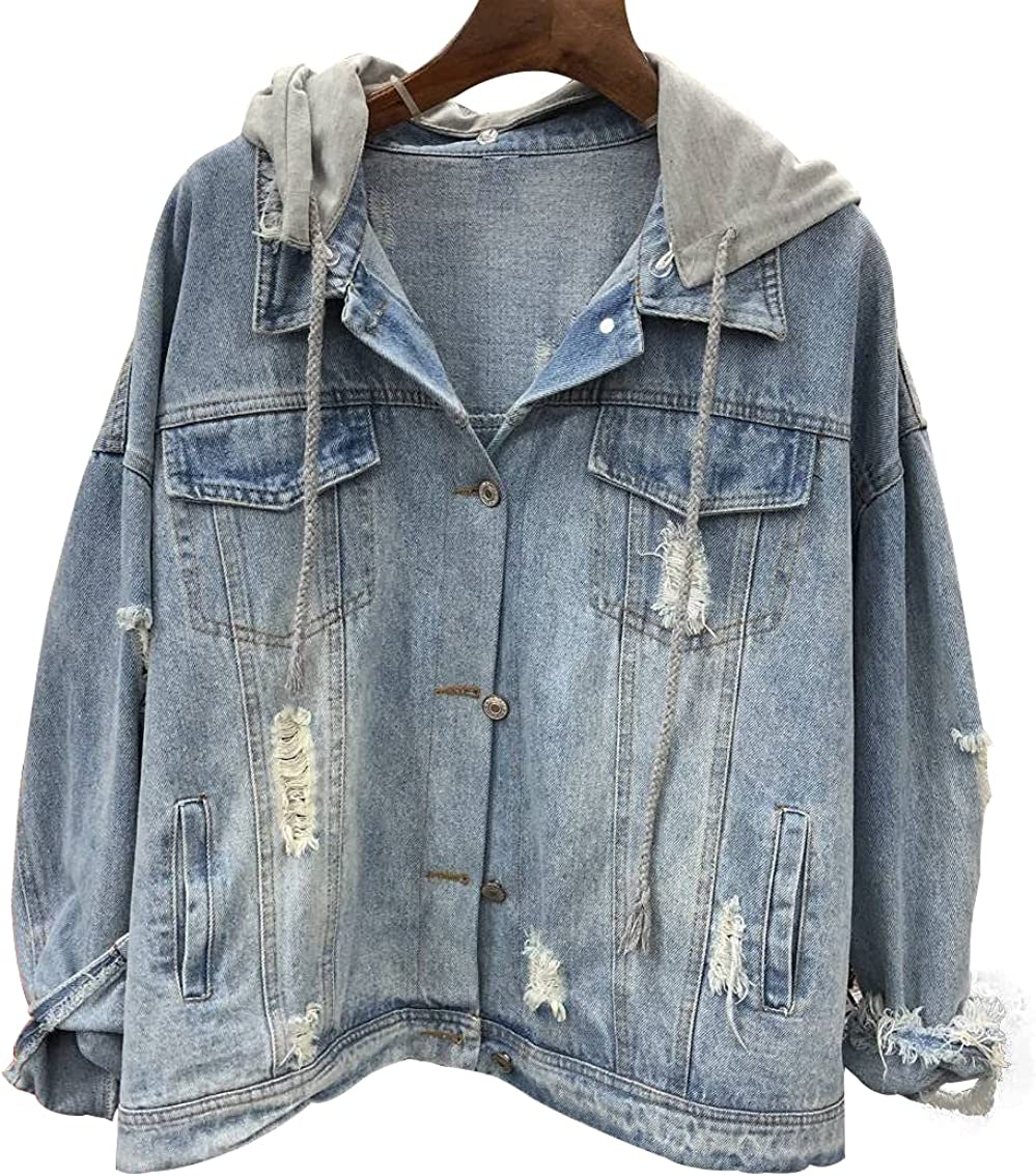 MENNARLEYOU Denim Jacket for Women Ripped Jean Jacket Long Sleeve Coat for Spring and Autumn