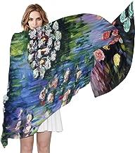 Monet Water Lilies Woman Chiffon Scarf Ladies Soft Wrap Shawl Silk Neckerchief