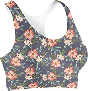 Rainbow Rules Hawaiian Dark Flowers Sports Bra