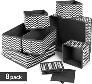 ilauke Drawer Underwear Organizers Storage Box Foldable Closet Dresser Drawers Divider Organizer Fabric Cloth Basket Bins for Sock Bras Baby Clothes, Set of 8, Grey