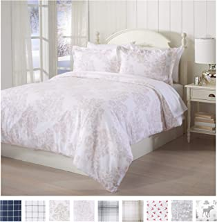 Great Bay Home Extra Soft Printed Flannel Duvet Cover with Button Closure. 100% Turkish Cotton 2-Piece Set with Pillow Shams. Belle Collection (Twin, Mauve Chalk)
