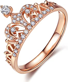 18K Rose Gold Plated Clear Exquisite Princess Crown Tiara Design Tiny Cubic Zirconia CZ Diamond Accented Fashion Ring