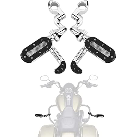 """Motorcycle Highway Pegs Adjustable Foot Peg with Flip-out Heel Rests for Road Glide Street Glide Sportster Road King Electra Glide with 1.25"""" Engine Guard 1 1/4 Highway Bar, Chrome"""