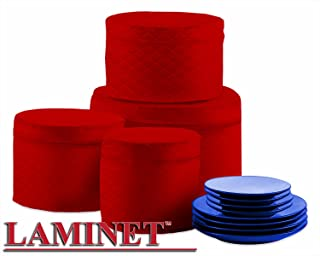 LAMINET 4 Piece Quilted Plate Storage Set - Holds Up to 48 Plates with Padded Inserts - RED