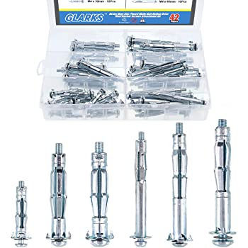 Expansion Bolt Plasterboard Screw Combination Kit Hollow Drive Wall Anchor Screws Assortment Kit Hand Tool Accessory for Industry 42PCs M4-M6 Molly Bolt Assortment Kit