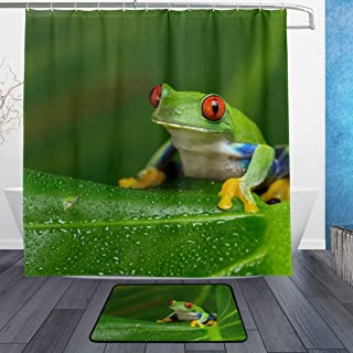 COOSUN Red-Eyed Amazon Tree Frog Bathroom Set, Polyester Fabric Shower Curtain (72 X 72 Inch) with Bath Mats Rugs(15.7 X 2...
