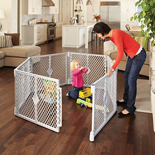 Toddleroo by North States Superyard Classic 6 Panel Baby Play Yard: Safe play area anywhere. Folds up with carrying s...