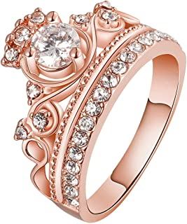 Women Crown Tiara Ring Princess Queen 18K White/Rose Gold Plated Tiny CZ Bridal Girl Promise Wedding Band
