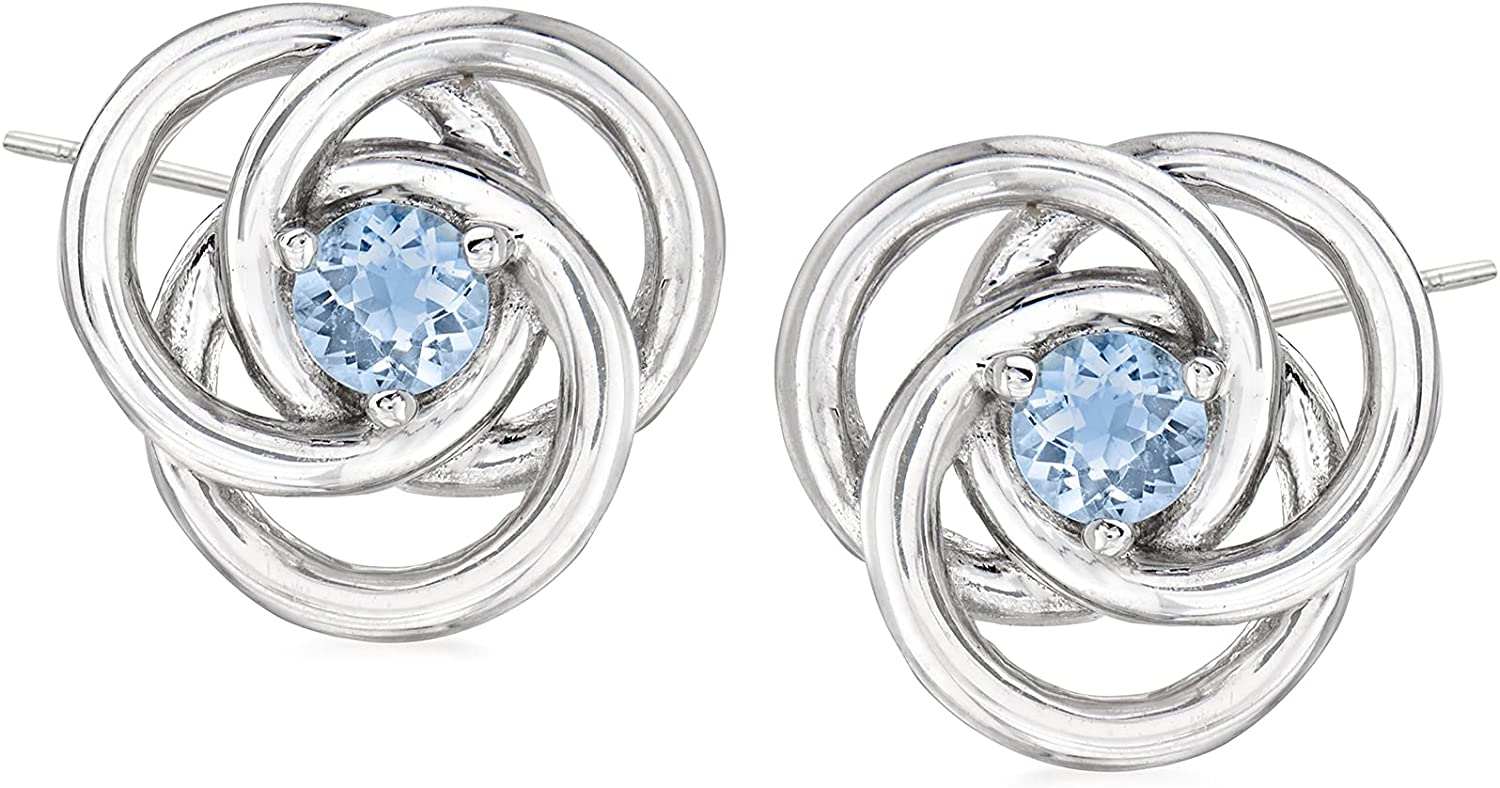 Ross-Simons 0.30 Max 82% OFF ct. t.w. Aquamarine Sterl Knot Love Earrings Great interest in
