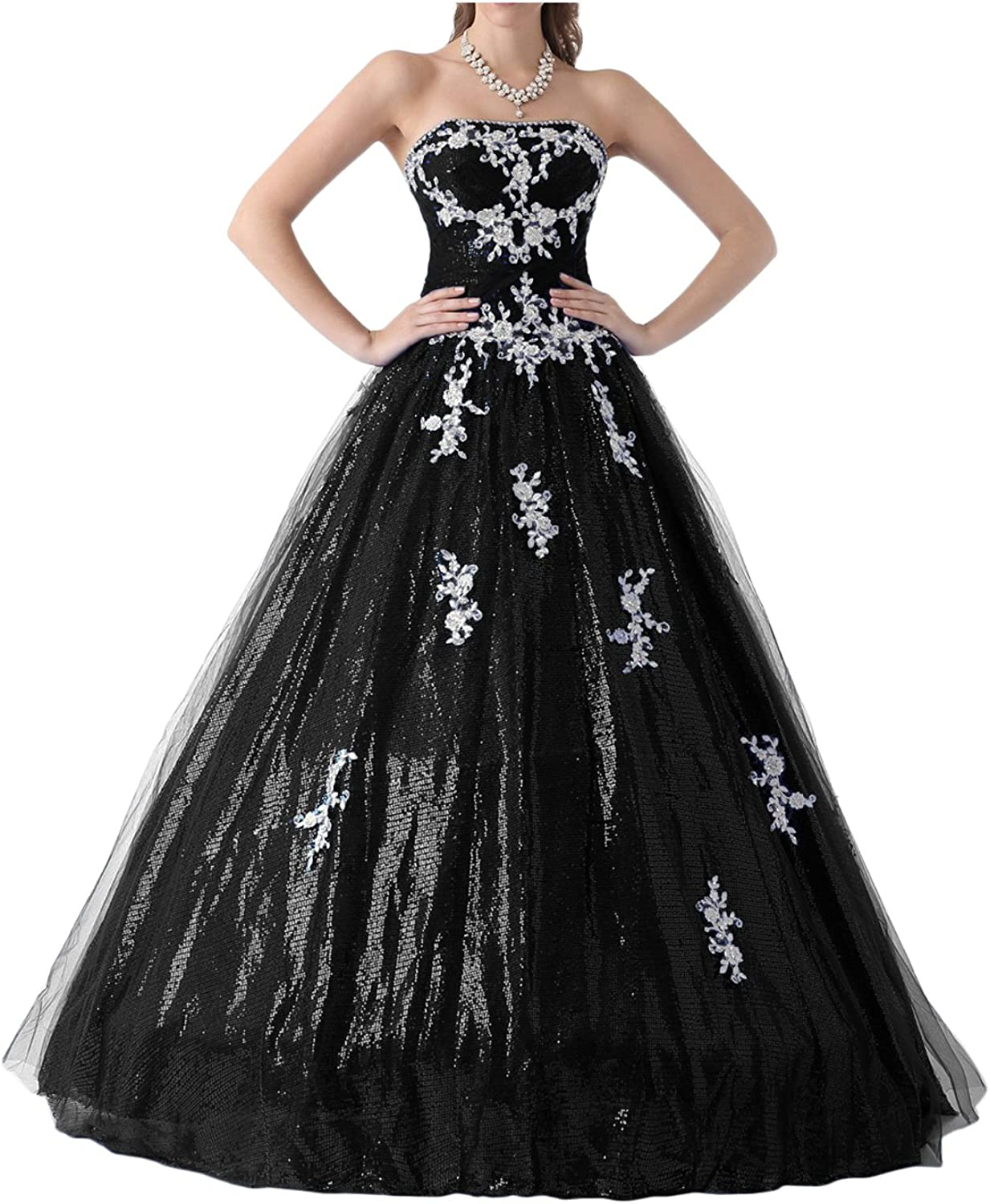 DINGZAN 2018 Sequin and Lace Ball Quinceanera Prom Homecoming Dresses