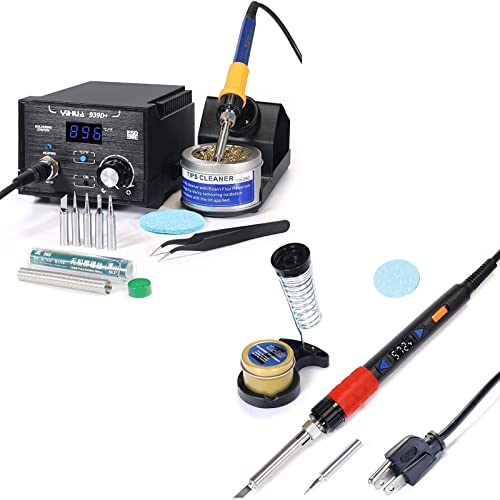 high quality YIHUA 939D+ Professional Soldering Station bundle with YIHUA 928D-III high quality High Power Soldering Iron as Secondary/Backup Iron Holder, Soldering lowest Cleaning Kit, and Accessories (17 Items) outlet online sale