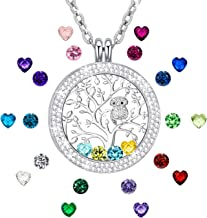 I Love You to The Moon and Back Family Tree of Life Floating Charms Memory Locket Necklace with Created Birthstone
