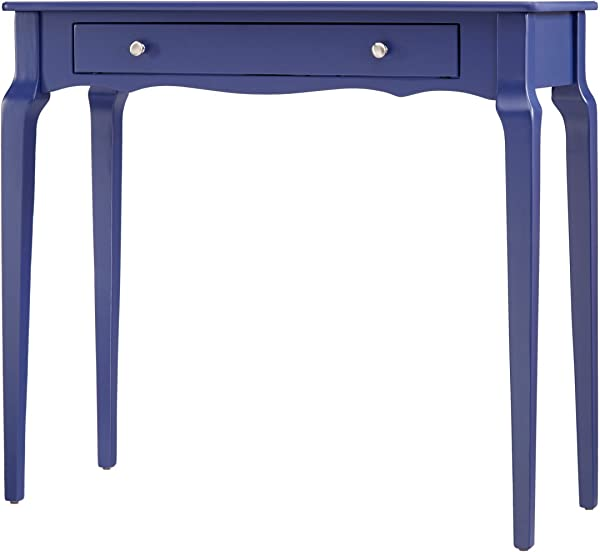 ModHaus Living Modern Cottage Narrow End Sofa Console Wood Accent Table With Storage Drawer Includes Pen Navy Blue
