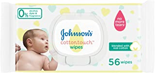 JOHNSON'S Newborn Baby Wipes - CottonTouch, Extra Sensitive Free of alcohol, dyes and fragrance, Pack of 56 wipes