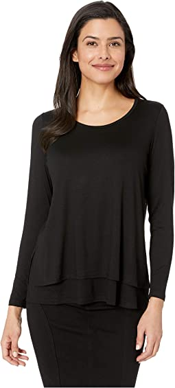 Scoop Neck Double Layer Top