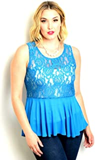 Womens Sheer Lace Peplum Top Solid Turquoise Sleeveless Evening Wear