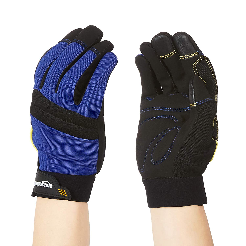 Amazon Basics Enhanced Flex Grip Arlington Sales for sale Mall Work - L Gloves Blue