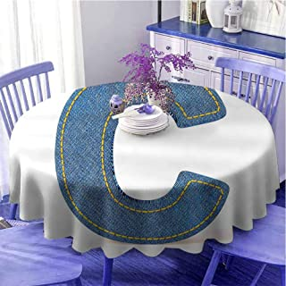 Lettre C - Linge de table ronde moderne en denim - Style rétro - Motif lettres de l'alphabet - Bleu et jaune
