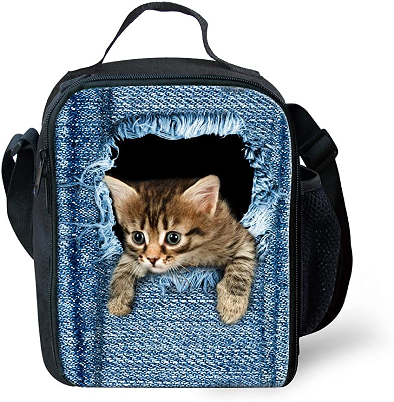 FOR U DESIGNS Cute Cat Print Insulated Lunch Box With Zipper Pocket For Boys